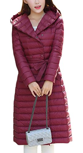Weight amp;S Long Coat Puffer amp;W with Down Light Outwear Women's M Parka Belt Winter Hooded Packable Jacket 3 xvIqwBdWS
