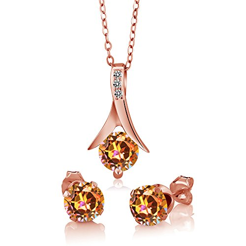 Gem Stone King 3.05Ct Ecstasy Mystic Topaz White Diamond 18K RoseGold Plated Silver Jewelry Set