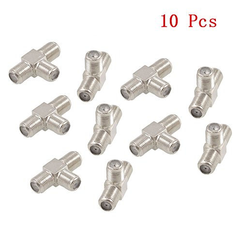 Yootop 10 Pcs 3 Way F Type Female RF Coaxial Adapter Connector for Antenna Cables