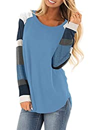 Womens Casual Color Block Long Sleeve Pullover Tops Loose...