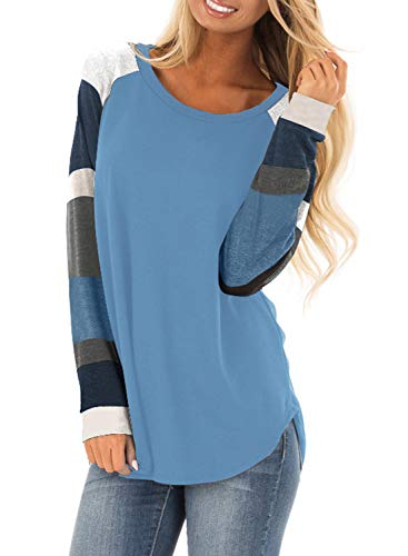 - Asvivid Womens Fashion Color Block Knit Pullover Sweatshirt Casual Loose Lightweight Ladies Fall Tunic Tops M Blue