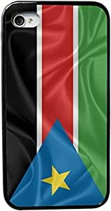 Rikki KnightTM South Sudan Flag Design iPhone 4 & 4s Black Case Cover (Black Rubber with bumper protection) for Apple iPhone 4 & 4s