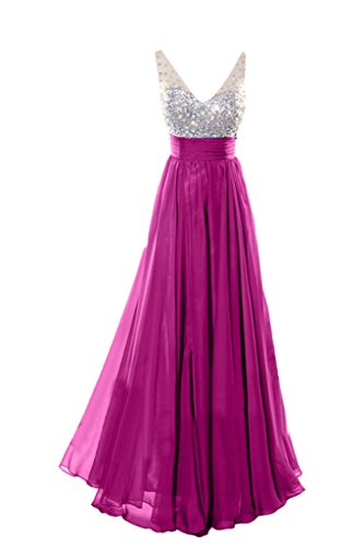 Dress V Floor Empire Length Neck Beading Fuchsia Evening Exquisite Dress Avril Party Fdqwt77