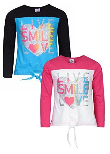 'Real Love Girls 2 Pack Long Sleeve Fashion Tops, Fuchsia/Black, (Cheap Teenage Girls Clothes)