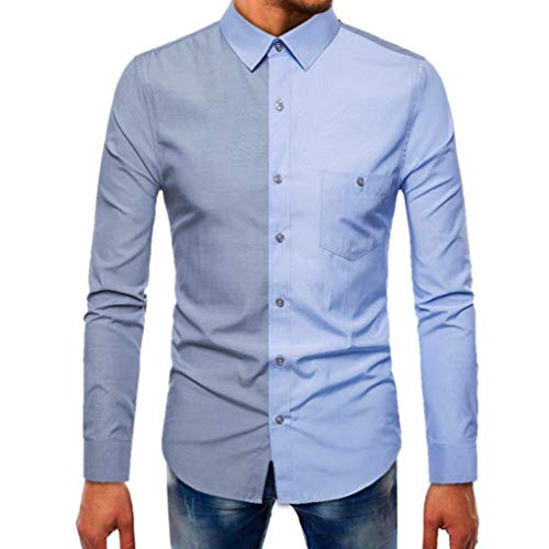 (kaifongfu Long Sleeve Top,Splicing Solid Color Men Beefy Muscle Button Basic Tosp Blouse (Light Blue,L))