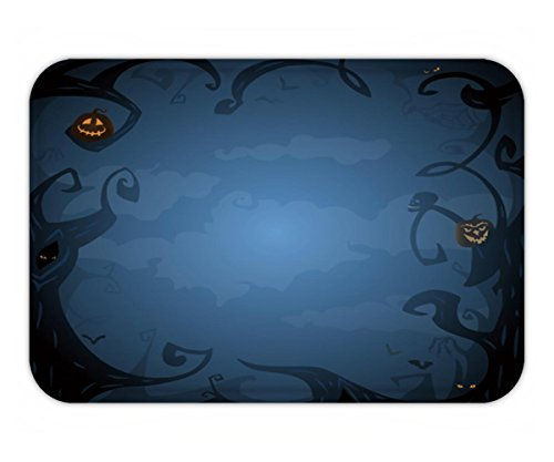 Beshowere Doormat dark blue halloween background with place for text trees clouds bats scary branches in (Twilight Tye Dye)
