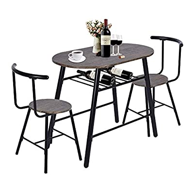 GreenForest 3-Piece Dining Table and Chairs Set Modern Breakfast Table Sets Rustic Bistro Dining Set Bar Pub Table Sets Restaurant Kitchen Table Set, 3 Pieces - 3 Pieces Dining Table Set -- GreenForest dining table set sold in a complete sets which included 1 oval table and 2 stools for you to enjoy a romantic meal for 2, it can match perfectly with any decor theme. Rustic Dining Bistro Set -- The table and chair set with compact design, there is storage shelf under the table top to for storing wine and food trays, good to save your spaces. Sturdy Kitchen Furniture -- Created from good quality MDF and premium steel construction, ergonomic armless chairs with curved back, provide you reliable stability and comfort. - kitchen-dining-room-furniture, kitchen-dining-room, dining-sets - 41cQxc7GVBL. SS400  -