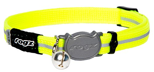 Rogz Reflective Nylon Cat Collar with Breakaway Clip and Removable Bell, fully adjustable to fit most breeds, Yellow