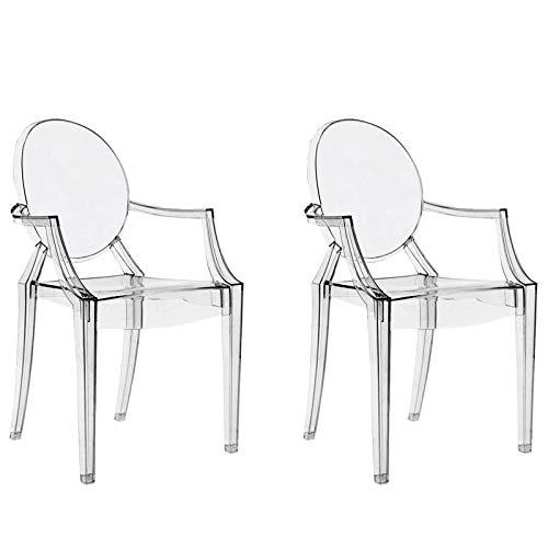 Cristal Transparentes Transparente 2 Chairs4you Bureau Fauteuil Inspirees Ghost Manger Chaises A Cuisine Salle Lot De Louis Dressing Salon HED2W9I