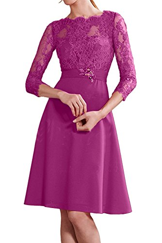 Abiballkleider La Linie Pink Blau Knielang Dunkel A Abendkleider Rock Langarm Braut mia Spitze Abschlussballkleider Elegant 8rU8Tnf