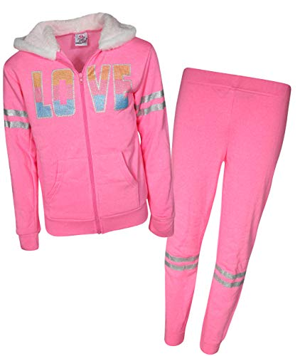 - Real Love Girls 2-Piece Sherpa Lined Hoodie and Pant Set, Pink Love, Size 14/16'