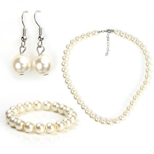 (United Elegance Classic Faux Pearl Set - Necklace, Drop Earrings and Coordinating Bracelet)
