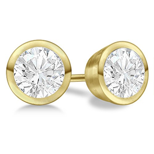 0.5ct Designer Bezel Bezel Diamond Earrings 18Kt Yellow Gold H-I ()