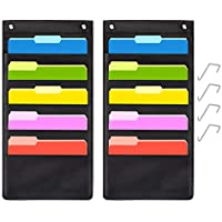 5 Pocket Hanging File Folder Organizer,Cascading Wall Organizer with 2 Hangers-Ideal for Home Organization,School Pocket Chart,Business folders and Paper Organizer (5 Pocket-2Pack)