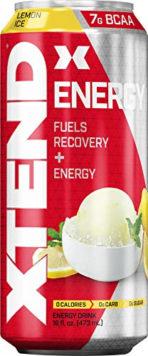 Scivation Xtend Energy On The Go Carbonated Zero Sugar Energy & Recovery Drink, Branched Chain Amino Acids + Caffeine, Bcaas, Lemon Ice, 16 Oz Cans (Pack of 12)