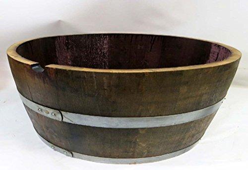 Genuine Oak Wood Shallow Wine Barrel Planter, 25