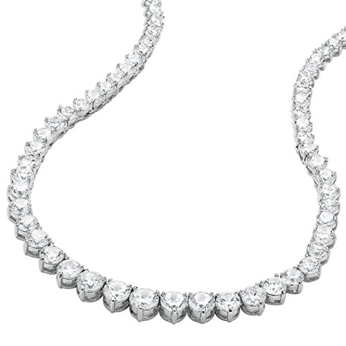 (Palm Beach Jewelry Silver Tone Eternity Tennis Necklace (7.5mm), Round Cubic Zirconia, 16