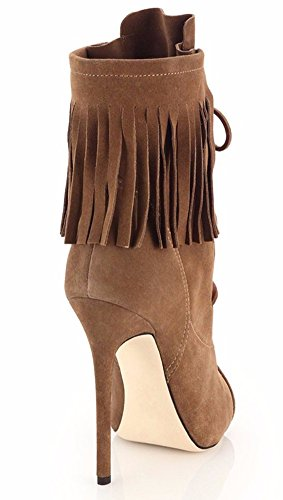 Peep High Amy Toe Tassels Lace Women's Boots Q Heel up 4 15 Size 5 Ankle xwnErEF