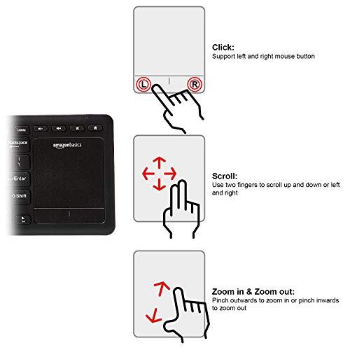 Amazon Basics Wireless Keyboard with Touchpad for Smart TV - US Layout (QWERTY)