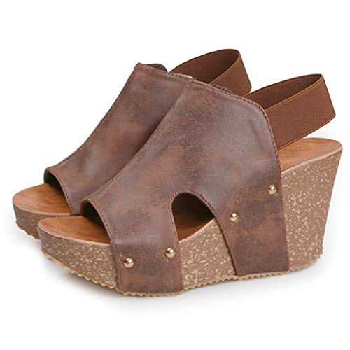 ❤️ Mealeaf ❤️ Women Summer Ankle Strap Platform Wedge Sandals Thick Gladiator Sandals Shoes(Brown,40) ()