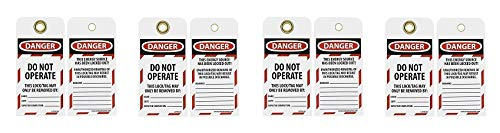 NMC LOTAG36-25 Lockout Tag,''Danger - DO NOT Operate,'' 6'' Height x 3'' Width, Unrippable Vinyl, Red/Black on White (Pack of 25) (4-(Pack))