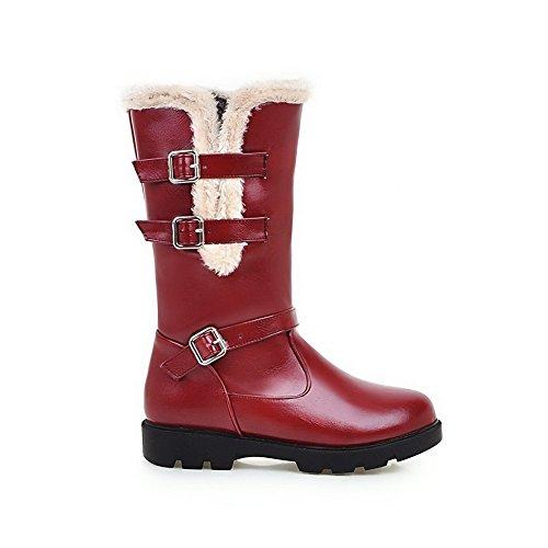 Women's Closed Claret AgooLar Boots Toe Low Round Solid PU Heels Buckle dvHZq0v