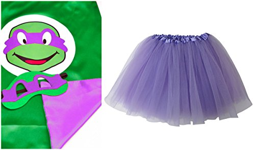 Superhero, Princess TUTU, CAPE, MASK SET COSTUME - Kids Childrens Halloween (TMNT - Donatello Purple (Teenage Mutant Ninja Turtles Halloween)