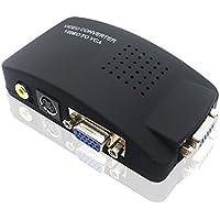 Video Converter GenLed RCA Composite AV S-Video to VGA Converter Box for DVD DVR VCR Monitor (Black)