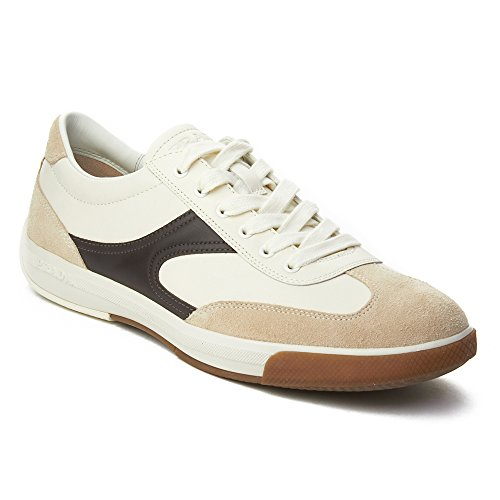 Prada Sports Leather Sneakers Shoes - Prada Sport Men's Leather Suede Low-Top Sneaker Shoes White