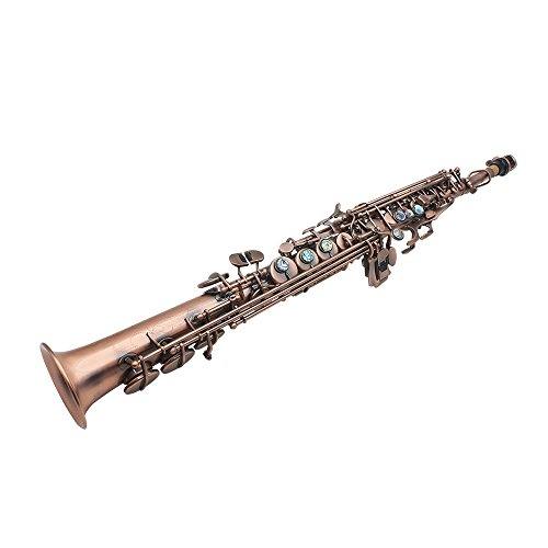 ammoon LADE Straight Bb Soprano Saxophone Sax Woodwind Instrument Abalone Shell Key Carve Pattern with Case Gloves Cleaning Cloth Straps Brush,Red Bronze,WSS-899 by ammoon (Image #8)