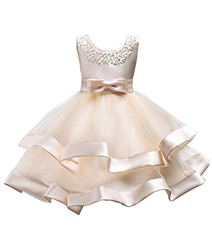 Fashion Formal Special Occasion Tops Flower Girls Pageant Prom Sleeveless Dresses for Wedding First Communions Pearl Ball Gown Satin Layer Sash Tank Knee Size 8 9 Years Little Girl (Champagne, 150)