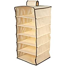 Juvale Hanging Closet Organizer - 6-Tier Clothing Storage Rack, Wall Organizer with Cardboard Shelves, Hanging Drawers with Hook and Loop Fastener, 24 x 12.3 x 12.3 Inches