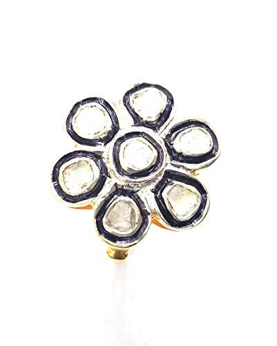 Rose Cut Diamond Solitaire Ring 925 Silver Ring June Birthstone Gift Handmade Ring