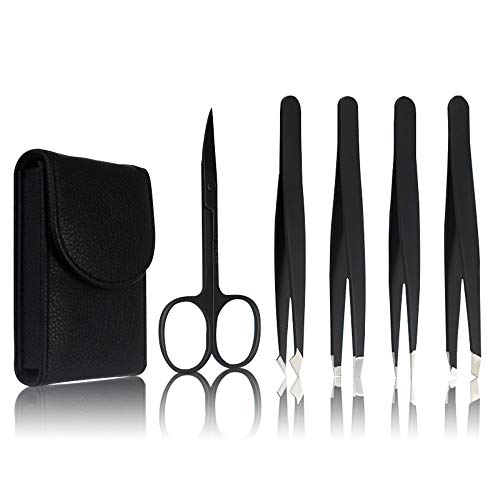 Tweezers Set 5-Piece - Professional Stainless Steel Tweezers with Curved Scissors, Best Precision Tweezer for Eyebrows, Splinter & Ingrown Hair Removal with Leather Travel Case