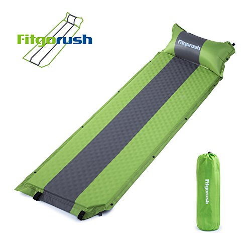 Fitgorush Self Inflating Camping Sleeping Mat Pad with Attached Pillow, Lightweight Compact Air Inflatable Mattress for Hiking Camping, Backpacking 74.8 x24.8 x0.4-2