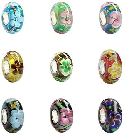 Color: 1 Calvas 925 Sterling Silver Large Hole Classic 3D Vintage Flowers Glass Charm Beads Fit European Bracelet Jewelry