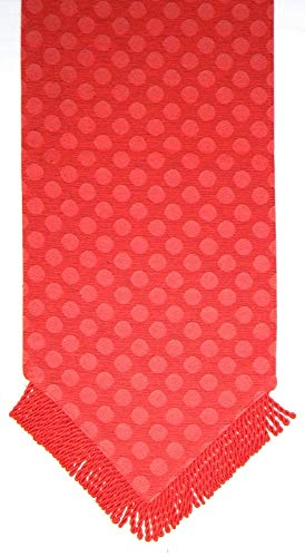 Manual Woodworker & Weavers Dot Appeal Table Runner with Tassels, Red