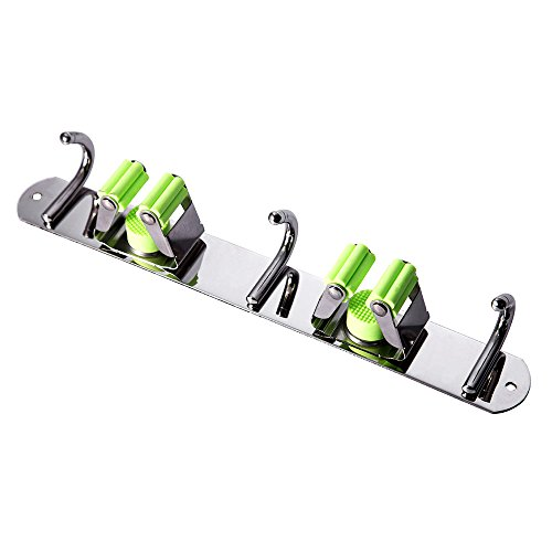 Mop and Broom Holder Wall Mount, Munto Stainless Steel Mop Holders, Garage Storage Racks for Kitchen and Garden (2 positions 3 hooks) by MUNTO (Image #1)