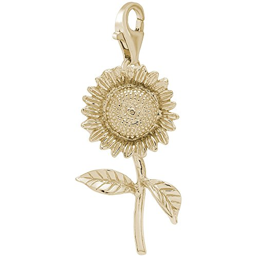 14K Yellow Gold Sunflower Charm With Lobster Claw Clasp, Charms for Bracelets and Necklaces (Gold 14k Sunflower Yellow)