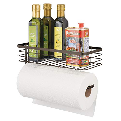 mDesign Paper Towel Holder with Spice Rack and Multi-Purpose Shelf - Wall Mount Storage Organizer for Kitchen, Pantry, Laundry, Garage - Durable Metal Wire Design - ()