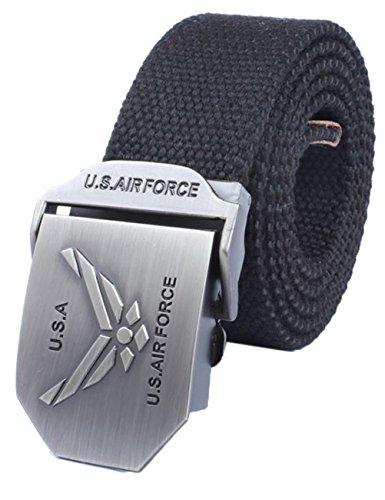 Menschwear Men's Adjustable Canvas Belt Metal Buckle Military Style W52