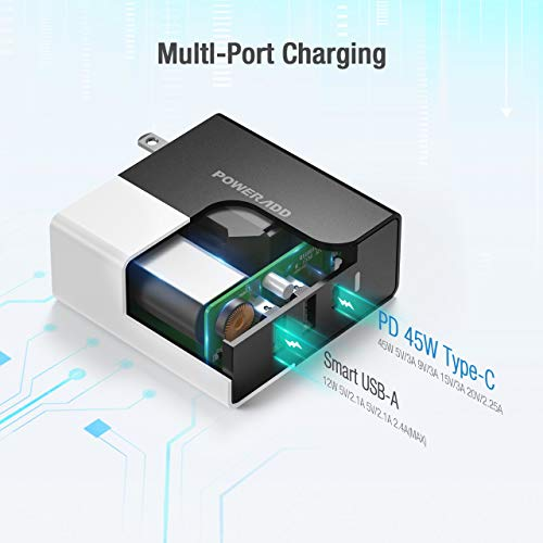 USB C Charger, POWERADD 57W 3 Port Wall Charger with PD 45W and 12W Dual Port, Foldable Fast Charger Compatible for iPhone 12/11/X/mini,iPad MacBook,Pixel 3/2,Nintendo Switch,Samsung S10e, and More