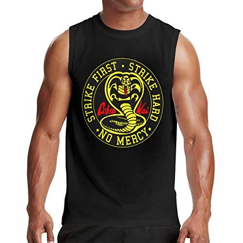 Cobra Kai Men Cotton Sleeveless Crewneck Tank Top T Shirt Black (Sleeveless Cobra T-shirt)