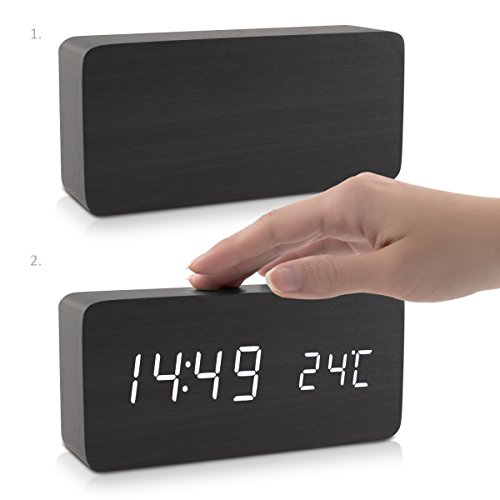 kwmobile Reloj despertador digital - Reloj de madera rectangular con luz LED - Activación táctil y por sonido con indicador de temperatura - Negro: ...