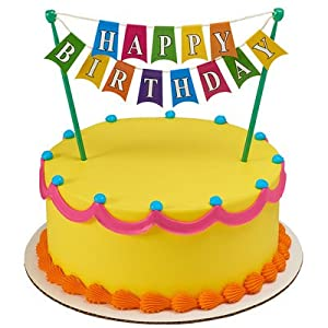 Amazon.com: Happy Birthday Banner Adornment Cupcake/Cake ...