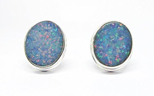 Sterling Australian Opal Doublet - handmade 925 sterling silver australian doublet fire opal stud earrings, genuine doublet opal stud earrings 9 * 11 mm, oval shape doublet fire opal stud earrings
