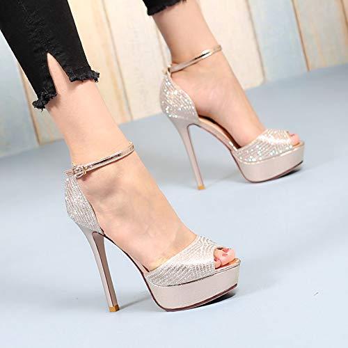 0659136fdf2 Amazon.com   GTVERNH Women s shoes fashion Diamond Fish Mouths Shoes  Buckles Sandals Sandals Bride S Wedding Shoes 12Cm Super High Waterproof Women S  Shoes.
