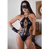 Body Preto em Cirrê Mulher Aranha com Máscara e Luvas - GV2006