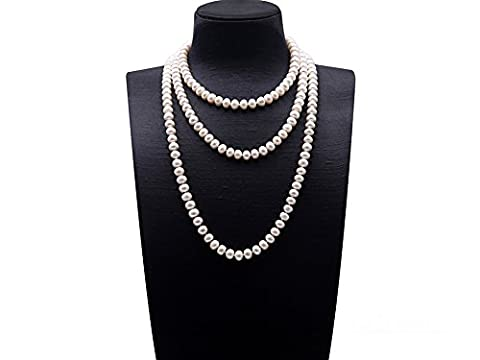JYX 9-10mm Near-round White Cultured Freshwater Pearl Necklace Long Sweater Necklace 67