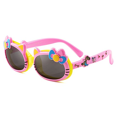 GREY JACK Hello Kitty Shaped Flip Polarized Sunglasses for Kids and Teenagers Aged - Kitty Hello Sunglasses